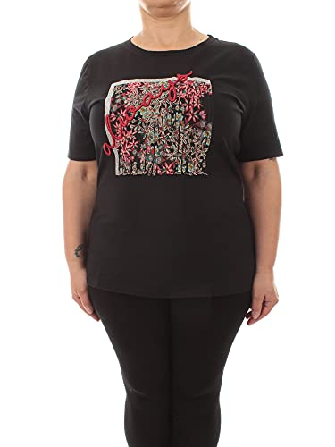 Luisa viola T-Shirt con ricami e Lurex da Donna Nero,G062L0 87X8