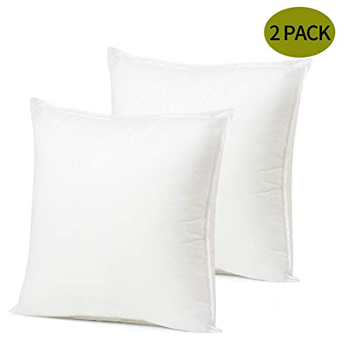 ORANIFUL Juego de 2 Fundas cojin Decorativas de 55x55 cm Almohadas Interiores Almohadas de sofá 100% algodón Almohadas Blancas Almohadas de Relleno