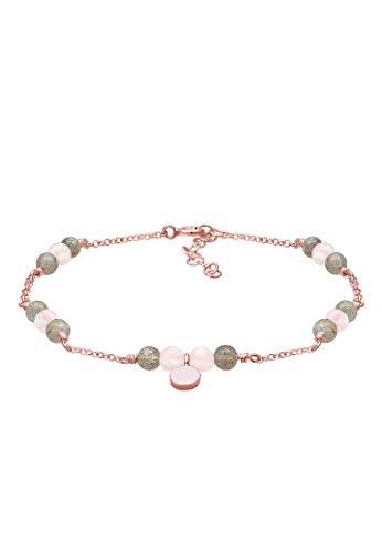 Elli Armband Damen Erbskette Labradorit Quartz Kugel in 925 Sterling Silber Rosé Vergoldet