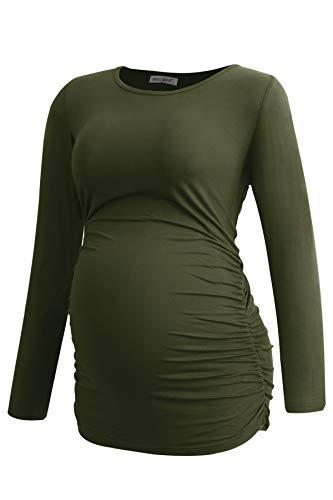 Smallshow Vestido de Maternidad para Mujer Embarazadas Blusa Lactancia Ropa para Embarazadas Fruncido Lateral con Manga Larga,Army Green,L