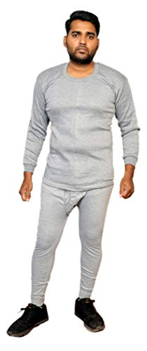 Go Smart Thermal Wear Set For Men | Body Warmer Set For Winter | Round Neck | Fleece Material (Size - 80 - S, GREY-SILVER)