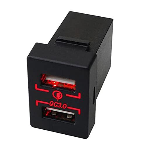 Cargador de Coche Socket Dual USB Puerto de USB QC 3.0 Carga RÁPIDA Adaptador de Corriente Outlet Zócalo Encendedor Splitter Adaptador de Salida para Toyota (Color Name : Red)