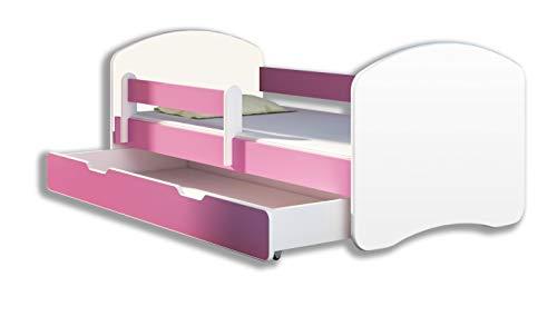 Letto per bambino Cameretta per bambino con materasso Lettino bambini (Rosa, 140x70 + Cassetto)