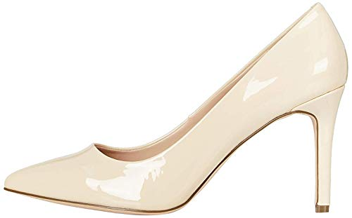 Marca Amazon - find. High Heel Point Court Zapatos de tacón con Punta Cerrada, Beige (Beige (Nude), 36 EU