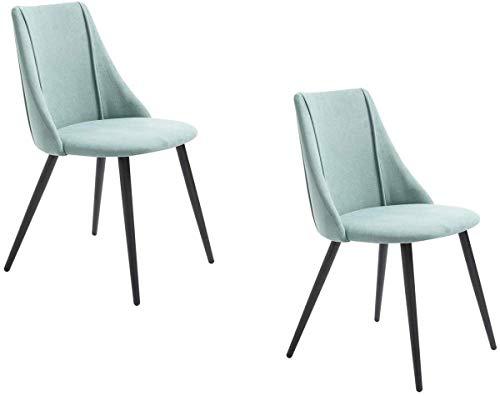 MEUBLE COSY Lot de 2 Chaises de salle à manger de style vintage, avec assise et dossier en tissu bleu, pieds en métal noirs