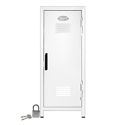 Mini Locker with Lock and Key White -10.75' Tall x 4.125' x 4.125'