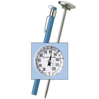 Digi-Sense S.S. Bimetalal Pocket Thermometer 25-125F, 1' Dial, Poly Lens, 5' Stem, 1F Div