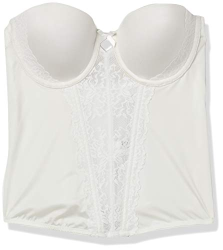 Flexees Women's Floral Lace Strapless Push-Up Bustier, white, 34C