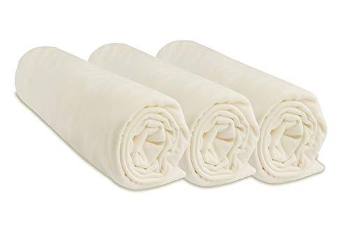 Lot de 3 Draps Housse Coton 40x80 cm Extensible à 40x90 cm - Écru naturel (marque Easy Dort)