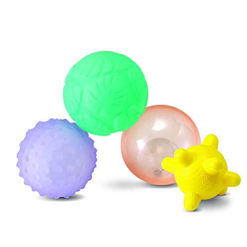 Infantino Activity Ball Set Music & Lights - 4 Colorful, Bouncy, & Multi-Textured Balls for Fine Motor Development for Little Hands