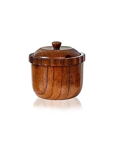 WSNDY Vaso di Condimento in Legno retrò Stagionato Piatto Set Cucina Forniture Zucchero Ciotola Sale Shaker Scatola di Sale in Legno (Size : 8 * 8cm)
