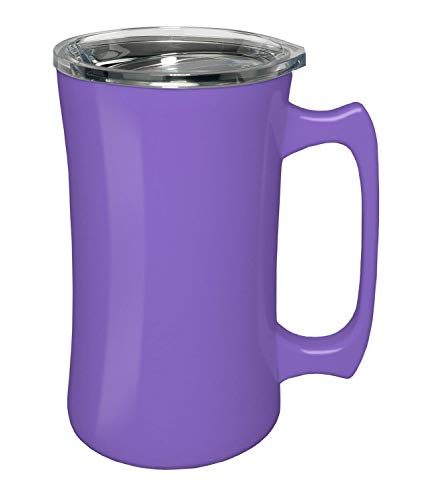 True North Stainless Steel Insulated Beer Mug Tumbler + Tankard with No-Spill BPA Free Triton Lid, Keeps Drinks Warm or Cold for 24 Hours, Perfect for IPA, Coffee, Tea or Wine, 20 oz, Beach Lavender