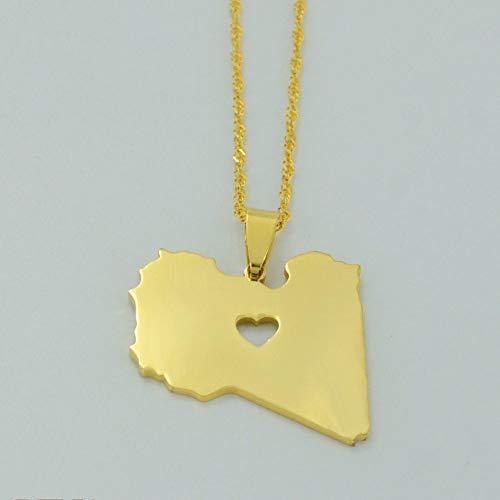 Collar De Mapa,Ein Weltkarte Halskette,Map Necklace,Casual Fashion Libya Heart Golden Map Metal Pendant Necklace Bohemian Bling Unique Ethnic Charm 60Cm Chain Jewelry For Women Man Travel Commemorat