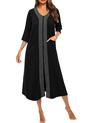SUNNYME Bademantel Damen Baumwolle Nachthemd Lang Morgenmantel mit Reissverschluss Taschen Sommer Nachtwäsche Schwarz XXL