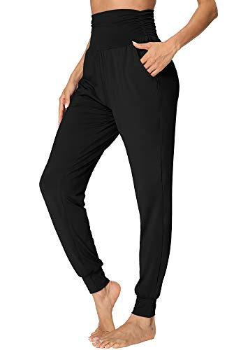 fitglam Women's Comfy Harem Pants High Waisted Lounge Joggers with Pockets Black