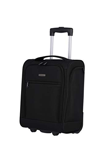 travelite 2-Rad Handgepäck Koffer mit Liquids Bag erfüllt IATA Bordgepäck Maß, Gepäck Serie CABIN Underseat: Kompakter Weichgepäck Trolley, 090225-01, 43 cm, 28 Liter, schwarz