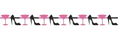 Creative Converting ons/Girls Night Out gebroken slinger met glitter Martini glas en hiel inbouwopeningen