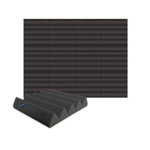 Arrowzoom 12 Panels Cuña Wedge absorción de sonido Espuma acústica Absorcion aislamiento acustico auto extinguible 25x25x5cm Negro