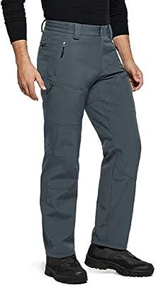 TSLA Men's Winter Waterproof Softshell Hiking Pants, Outdoor Snow Ski Fishing Fleece Lined Insulated Pants, Softshell(ykb58) - Grey, Large