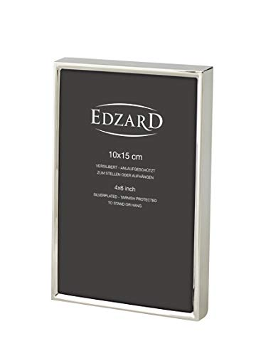 EDZARD Fotorahmen Otto für Foto 10 x 15 cm edel versilbert, anlaufgeschützt, mit 2 Aufhängern