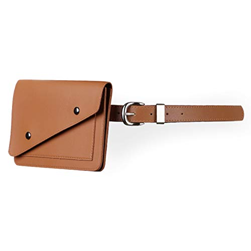 JASGOOD Women Leather Fanny Pack Waist Bag Travel Pouch with Removable Leather Belt Bag,Suit for Waist Size 32-38 Inches,3-Brown