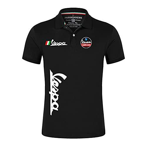 JJZXLQ Men Summer Casual Short Sleeve Cotton Vespa T-Shirt Single Button Placket Plain Unisex Round Neck Shirts