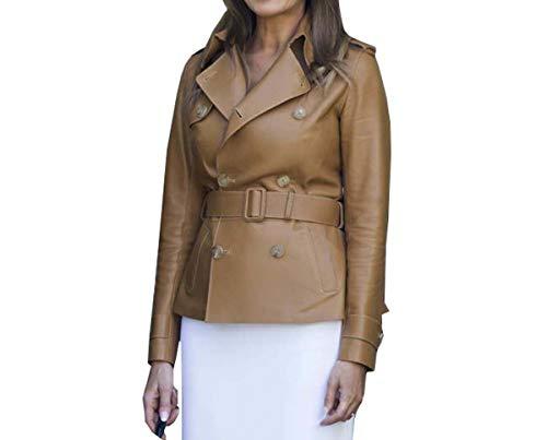 Fashion_First Chaqueta Peacoat de cuero marrón de primera dama Melania Trump para mujer