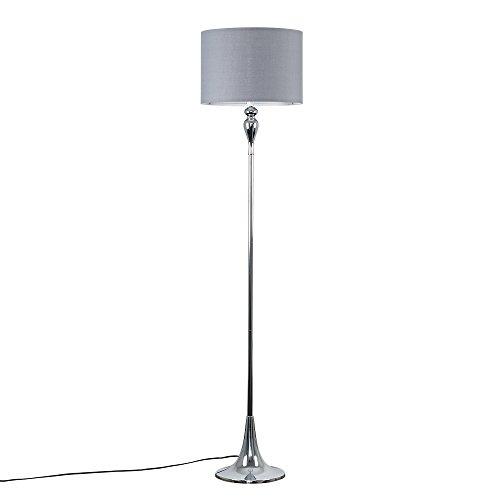 Modern Polished Chrome Spindle Design Floor Lamp with a Grey Cylinder Light Shade
