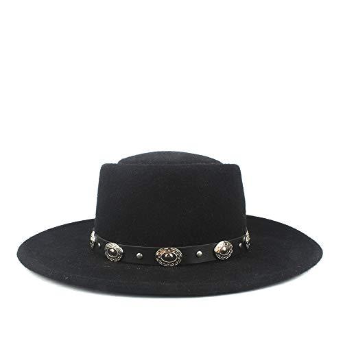 Accesorios sombrero de ala ancha diario Correa plana del sombrero Señoras camionero 100% lana Flat Top caballero del sombrero de piel del sombrero de los hombres del invierno del otoño del sombrero de