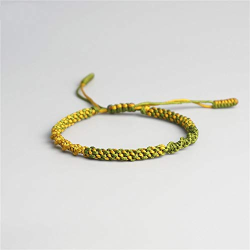 ANGYANG Woven Bracelet,Green With Yellow Rope Exquisite Braided Adjustable Charm Bracelets Tibetan Buddhist Jewelry Lucky Friendship Gift For Boy Girl Couples Men Women