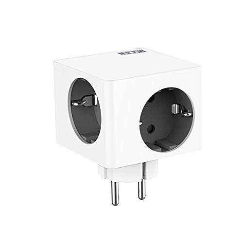 Cubos de enchufes, 4 enchufes, adaptador de pared, extensor, portátil, para dispositivos domésticos, iPhone, smartphones, portátiles (16 A/250 V/3680 W)