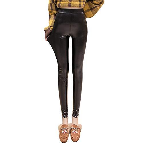 QPXZ Sexy Leggingspu Lederhosen Oberbekleidung Sowie Samt Dicke Dünne Nieten Füße Hose-1# [Verdickter Samt] _M