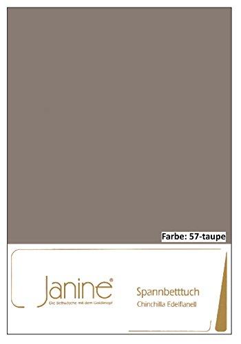 Janine Spannbettlaken Chinchilla 7000, Gr. 150x200 cm, Fb. 57 Taupe, Edelflanell