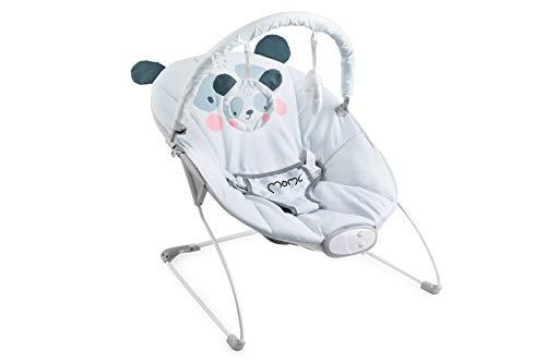 MOMI GLOSSY Babywippe für Babys bis 9 kg, weiche Polsterung, Metallrahmen, Antirutsch-Füßchen, Haltegurt | Abmessungen 58 x 49 x 53 cm | Sensorisches Modul für kreative Kinderförderung | Panda