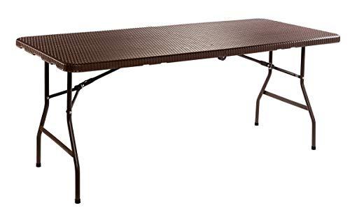 Table pliante W en polyrotin | Facile à transporter avec poignée de transport rapide | pour l'intérieur et l'extérieur | 180 x 72 x 75 cm | Se replie facilement