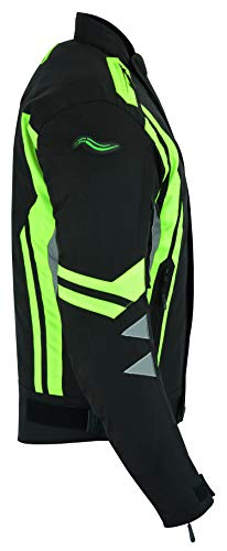 RIDEX Hochsichtbare wasserdichte Motorrad Jacke Herren Schutz Größe L Schwarz/Gelb – schwarz / gelb - 6