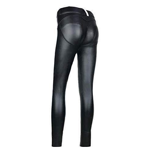 BESTOYARD Leggings de Cuero de la PU Pantalones de Cuero Slim fit Pantalones Pitillo Slim fit Negro Talla XL