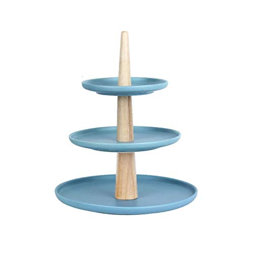 XZJJZ Plato de Frutas - Molde de Papel de cerámica de la Torta de 3 Capas de Soporte Merienda Postre Rejilla for Bandeja Plato de Fruta de múltiples Capas de la Tabla Postre (Color : Blue)