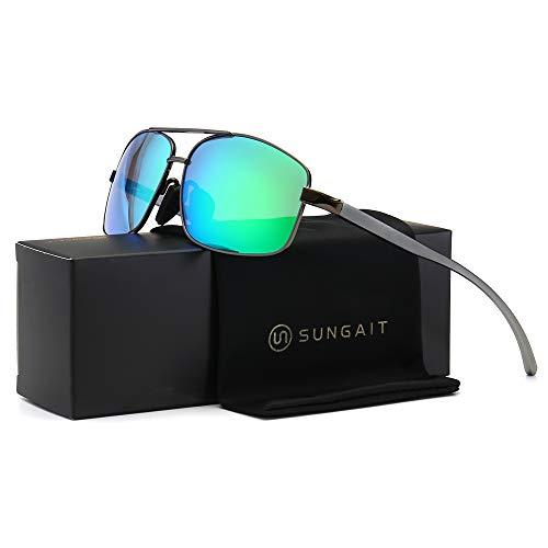 SUNGAIT Polarisierten Sonnenbrillen Man Ultra-Leicht Rechteckig UV400 Schutz (Gunmetal Rahmen Grün Spiegel Objektiv) -SGT458 QKLV UK
