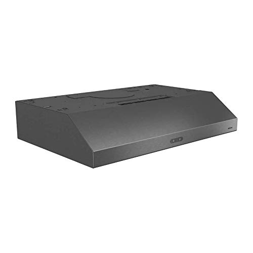 Broan Glacier Convertible Range Hood, Exhaust Fan and Light Combo for Over Kitchen Stove, Black Stainless Steel, 30