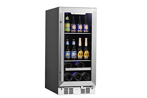 【Flash Deals! 】Upgraded Titan Signature15 inch Built In Beverage Cooler and Wine Cooler, 48 Can and 7 Bottle Stainless Steel Single Door Single Zone
