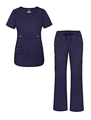 Adar Active Classic Scrub Set for Women - Crossover Top and Multi Pocket Pants - 3500 - Navy - S