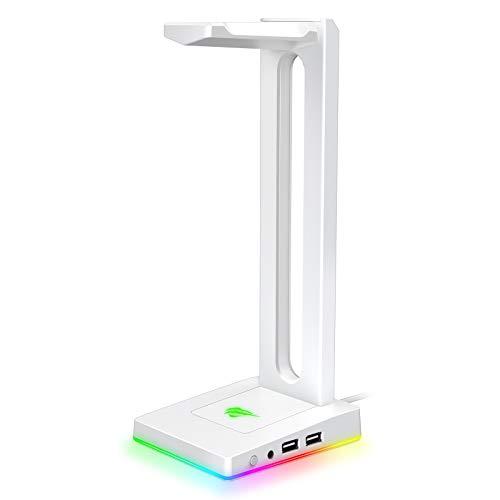 havit Headset Ständer mit 2 USB Anschlüssen, RGB Kopfhörer Ständer mit 7.1 Surround Audio Ausgang und rutschfeste Unterlage, Weiß
