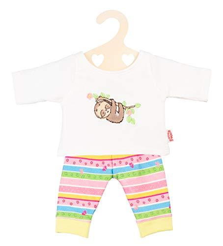 Heless 2965 - Pyjama für Puppen, Faultier Flauschi, Größe 35 - 45 cm