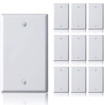 Faith Blank Wall Plate Cover 1-Gang Standard Size Blank Outlet Cover White 10-Pack