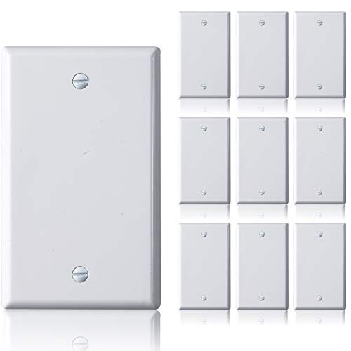 Faith Blank Wall Plate Cover, 1-Gang Standard Size Blank Outlet Cover, White, 10-Pack