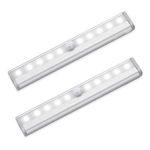YUNYING 2Ps LED Motion Sensor Cabinet Light,Under Counter Closet Lighting, 10-LED Kitchen Lights,Battery Powered Operated Light, Stick On Lights for Cupboard