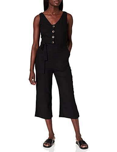 Springfield Mono Lino Botones Pantalones, Negro, 34 para Mujer