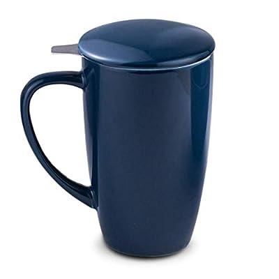 Tea Mug with Infuser and Lid - 18 Ounces Ceramic Tea Cup for Loose Leaf Tea Steep Blue