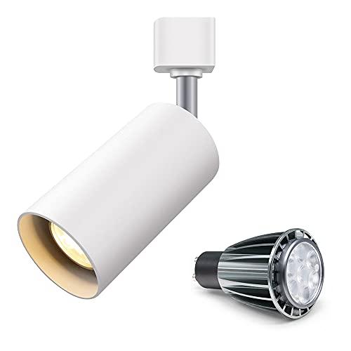 TANGIST 7W LED GU10 Bombilla Superficie Reemplazable Montado LED Downlight Cálido/Frío Blanco Techo Luz del punto para la cocina Pic TV Fondo (Emitting Color : Rail White with Bulb)